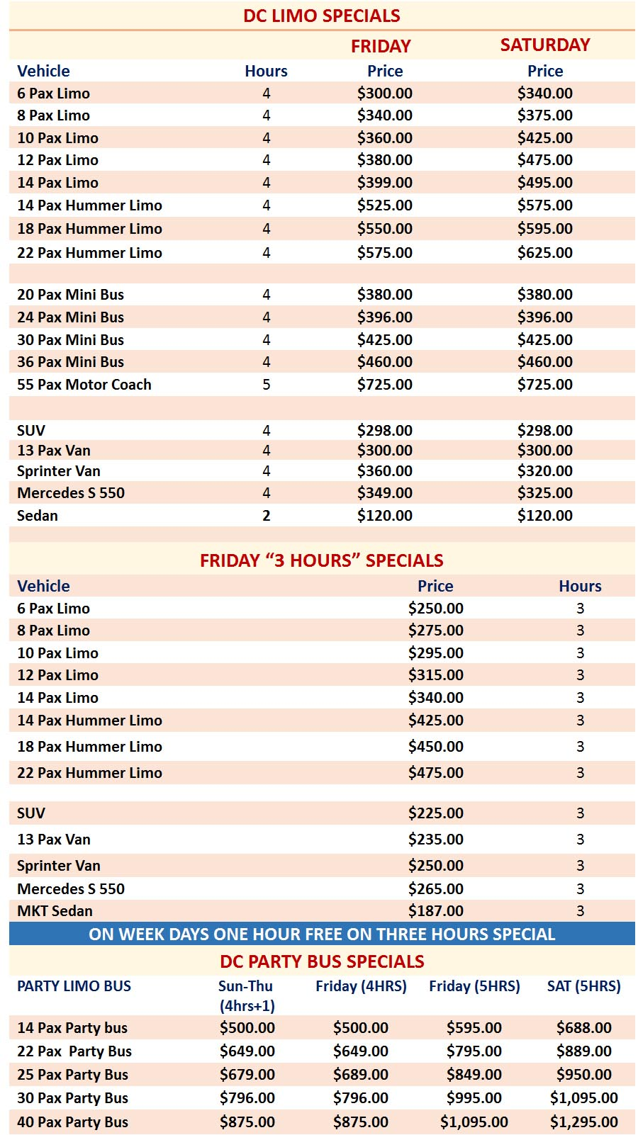 Party Bus Rates